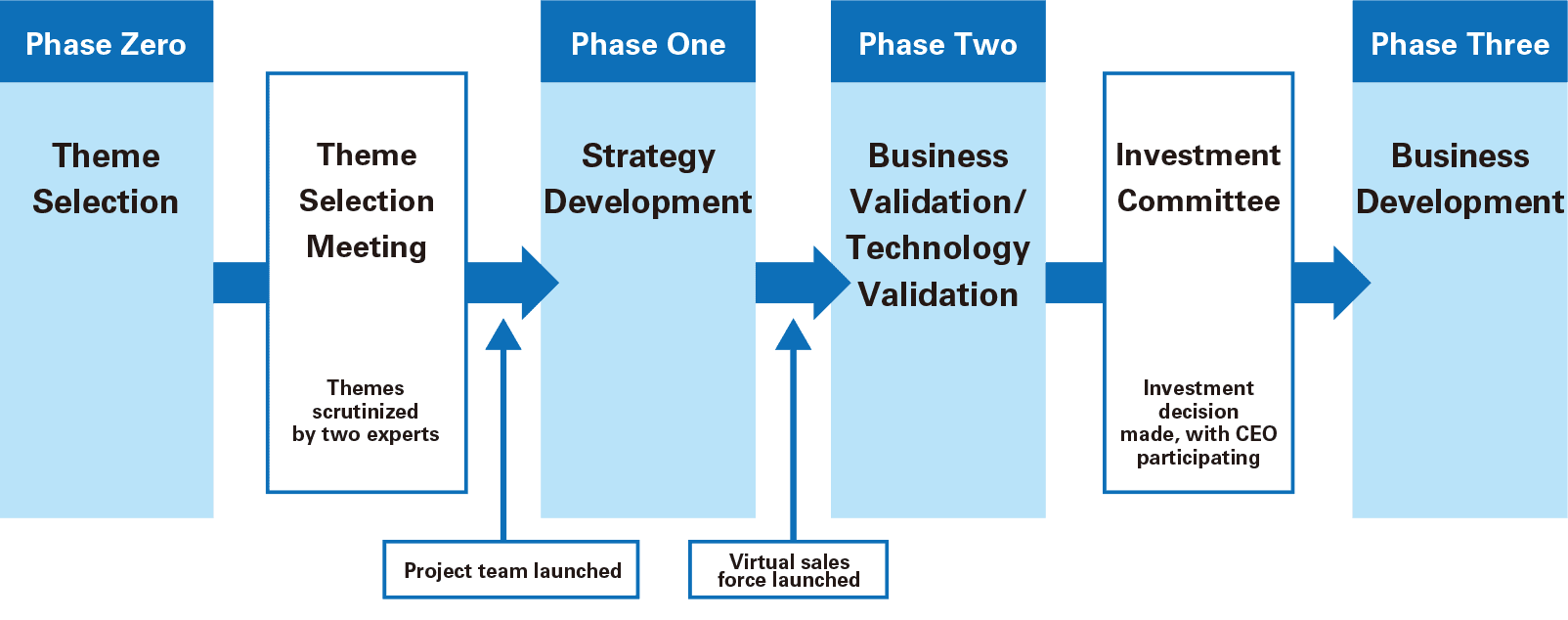 Phase Zero:Theme Selection→Theme Selection Meeting(Themes scrutinized by two experts)→Project team launched→Phase One:Strategy Development→Virtual sales force launched→Phase Two:Business Validation/ Technology Validation→Investment Committee(Investment decision made, with CEO participating)→Phase Three:Business Development