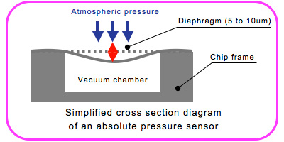 Simplified cross section diagram of an absolute pressure sensor